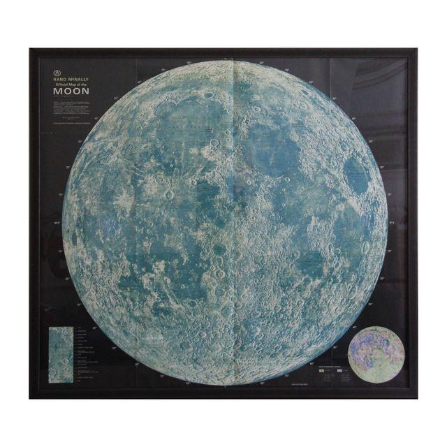 Vintage Rand McNally Moon Map in Frame