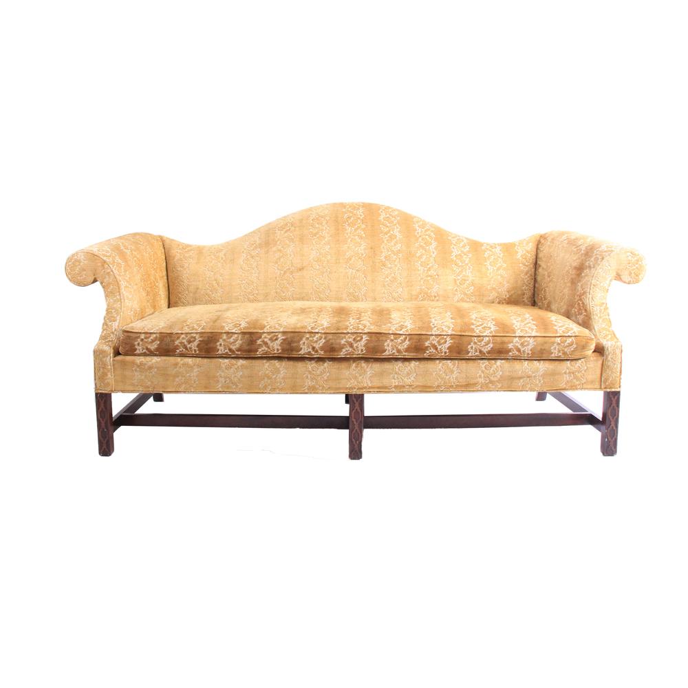 Vintage Gold Camelback Sofa