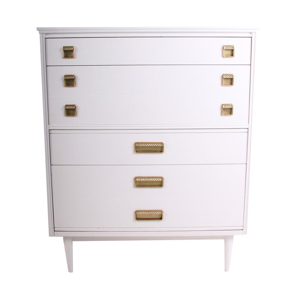Vintage White Mid Century Modern Highboy Dresser