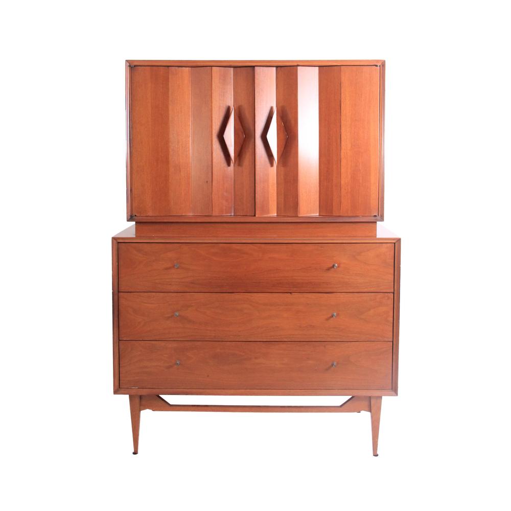 Vintage Mid Century Modern Diamond Dresser Armoire