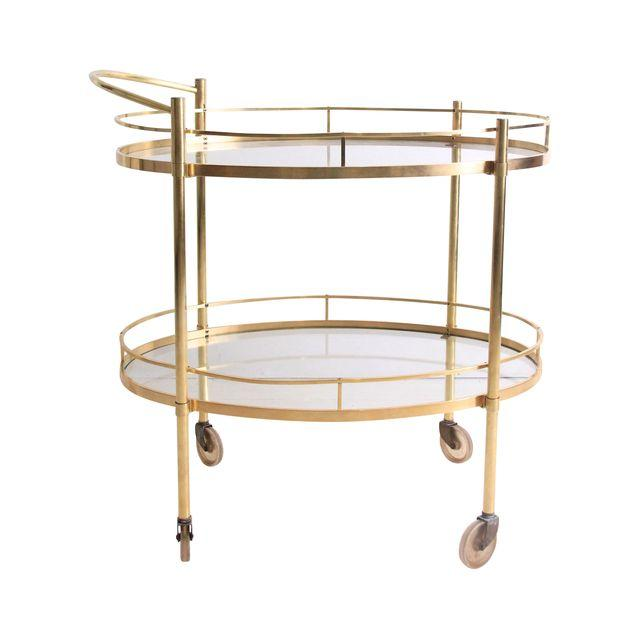 Vintage Brass Rolling Bar Cart