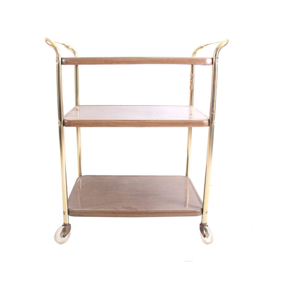 Vintage Plastic and Metal Rolling Cart