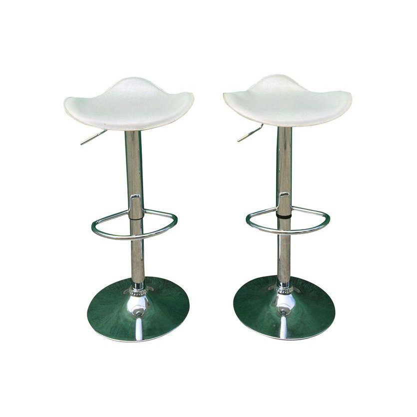 Vintage White Leather Barstools