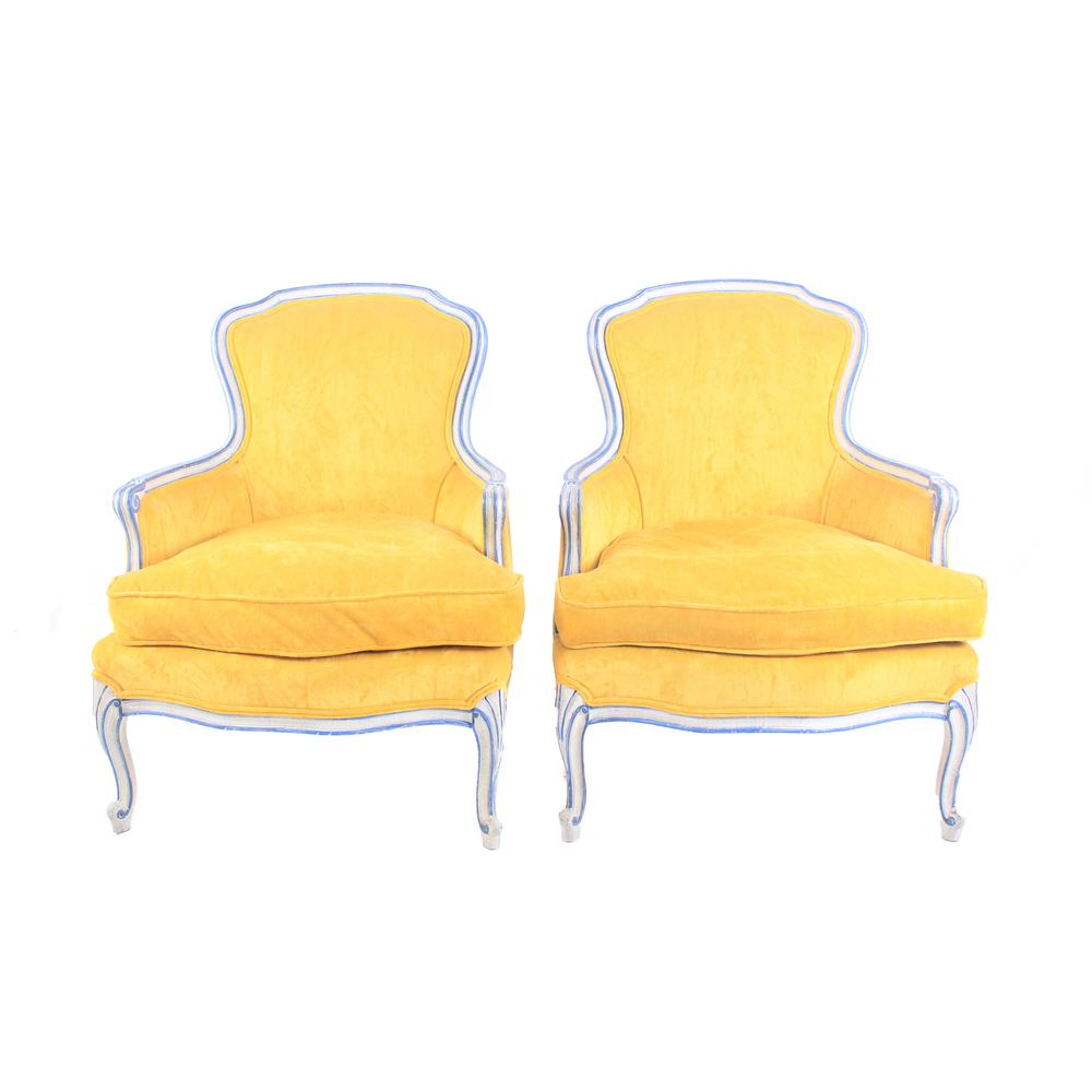 Vintage French Provincial Yellow Chairs