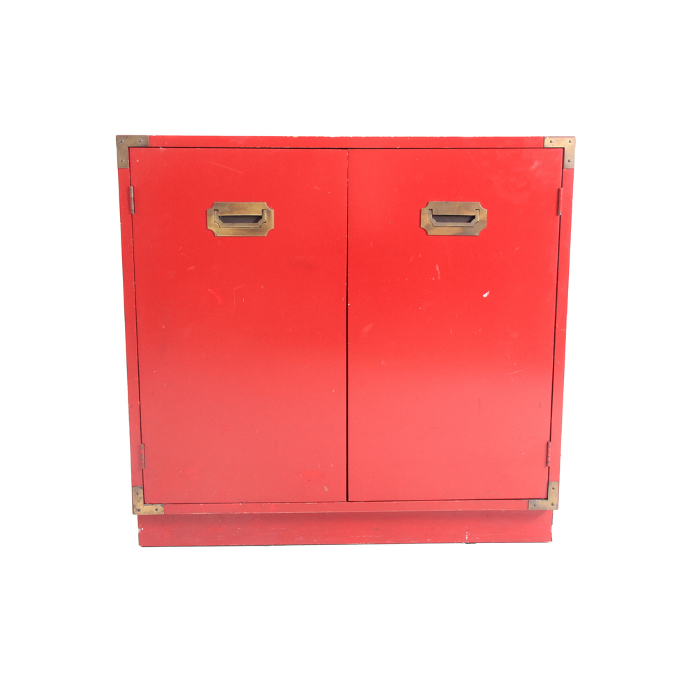 Vintage Red Campaign Cabinet
