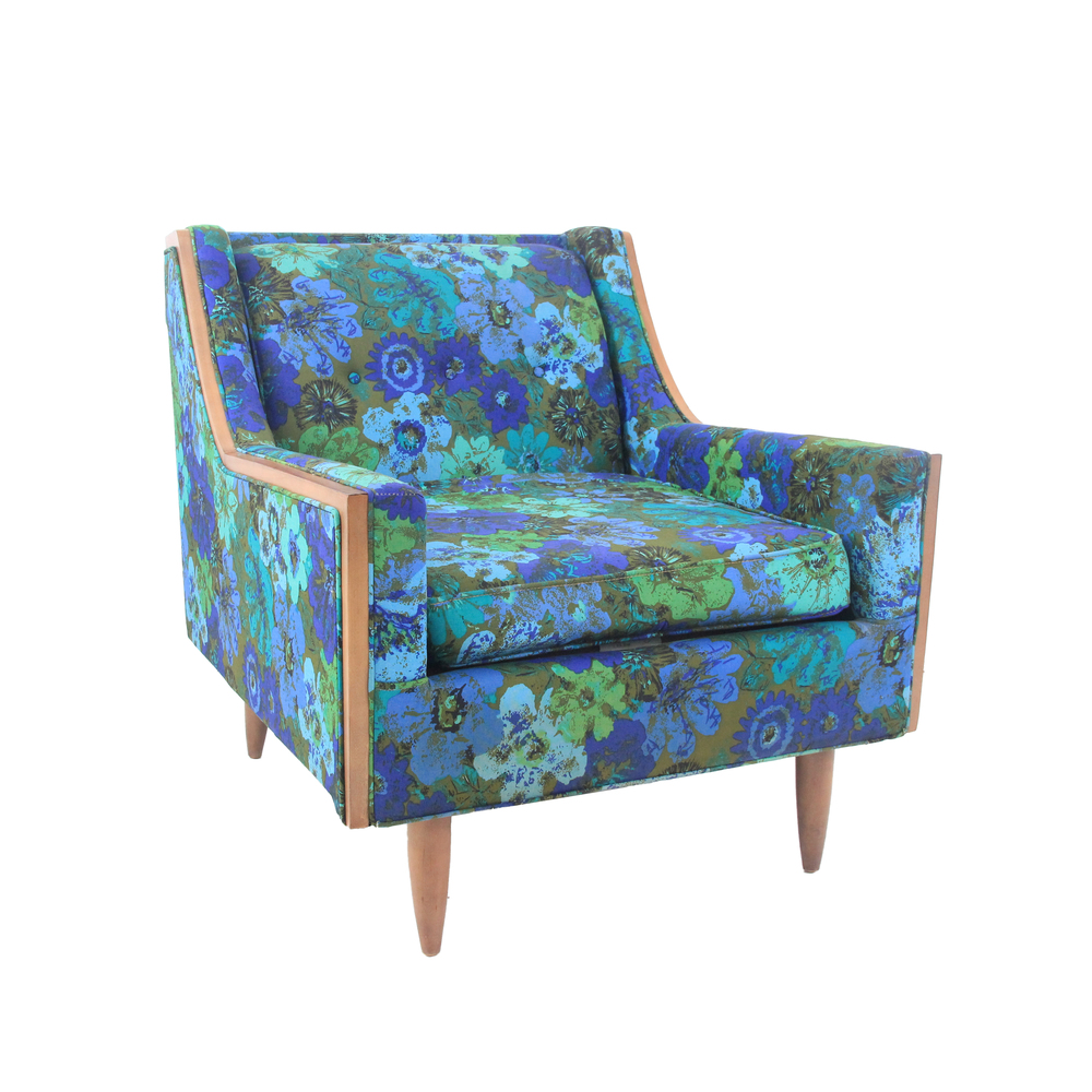 Vintage Mid Century Modern Floral Arm Chair