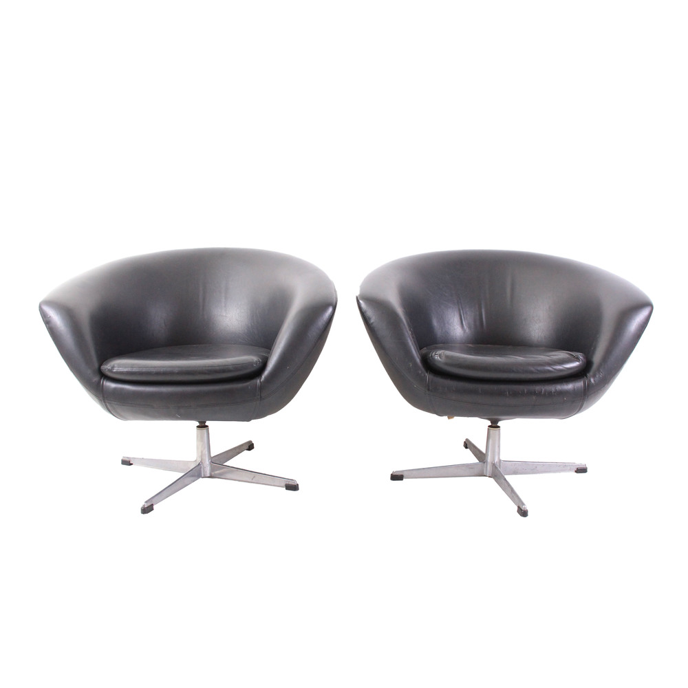 Pair of Vintage Mid Century Modern Danish Black Vinyl Chairs