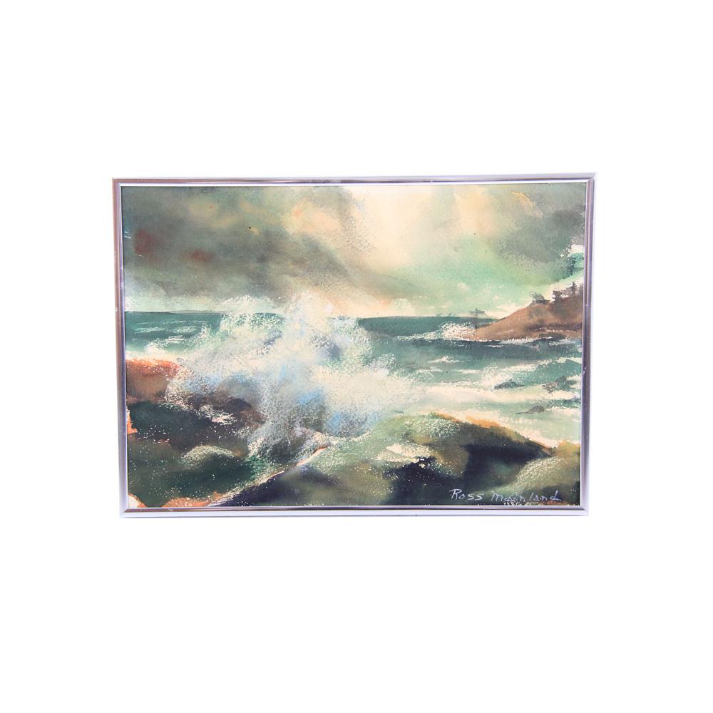 Small Vintage Ocean Painting