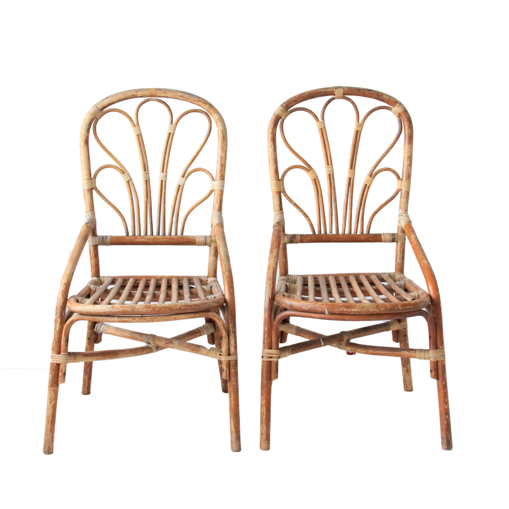 Vintage Bamboo and Rattan Bohemian Chairs