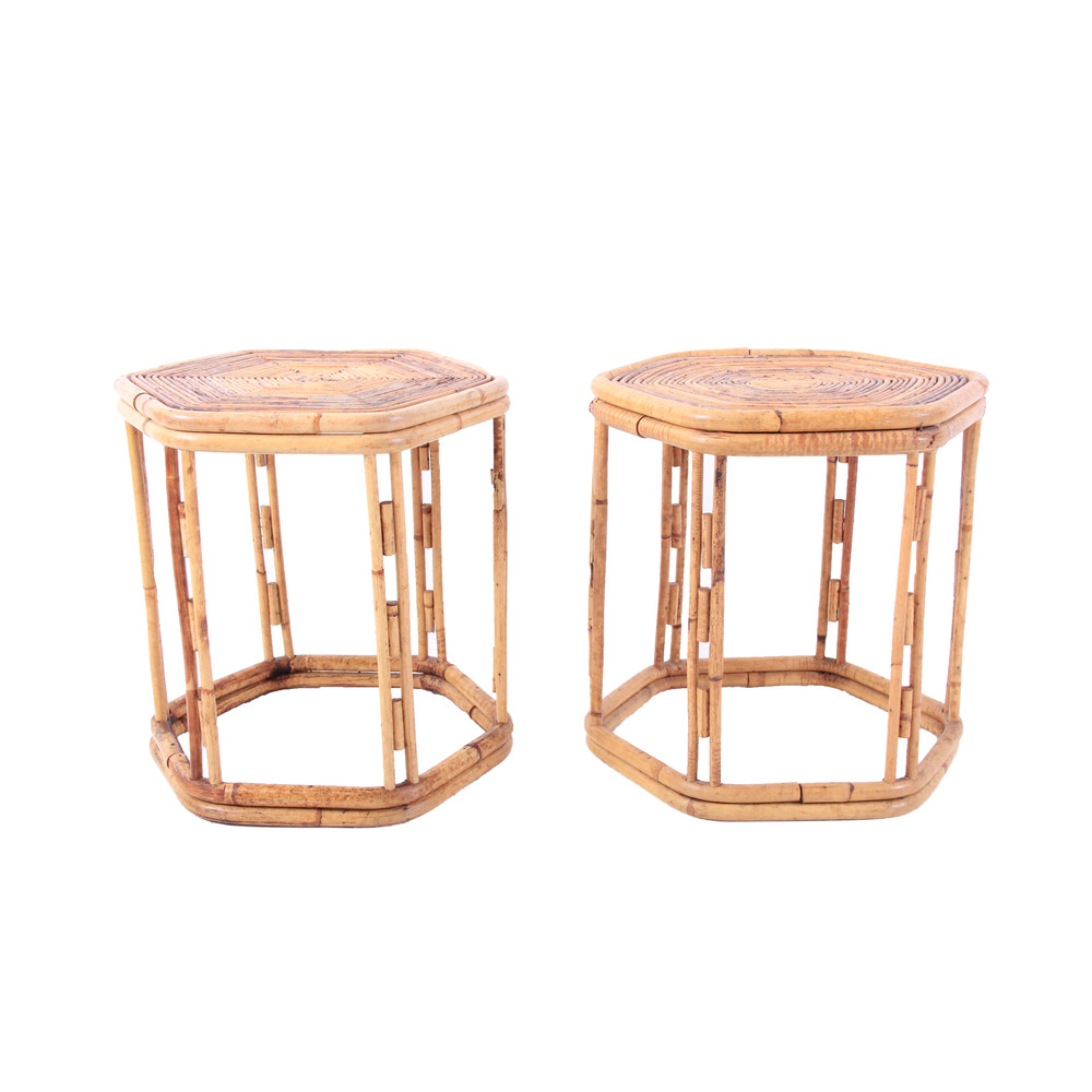 Pair of Vintage Rattan and Bamboo Side Tables
