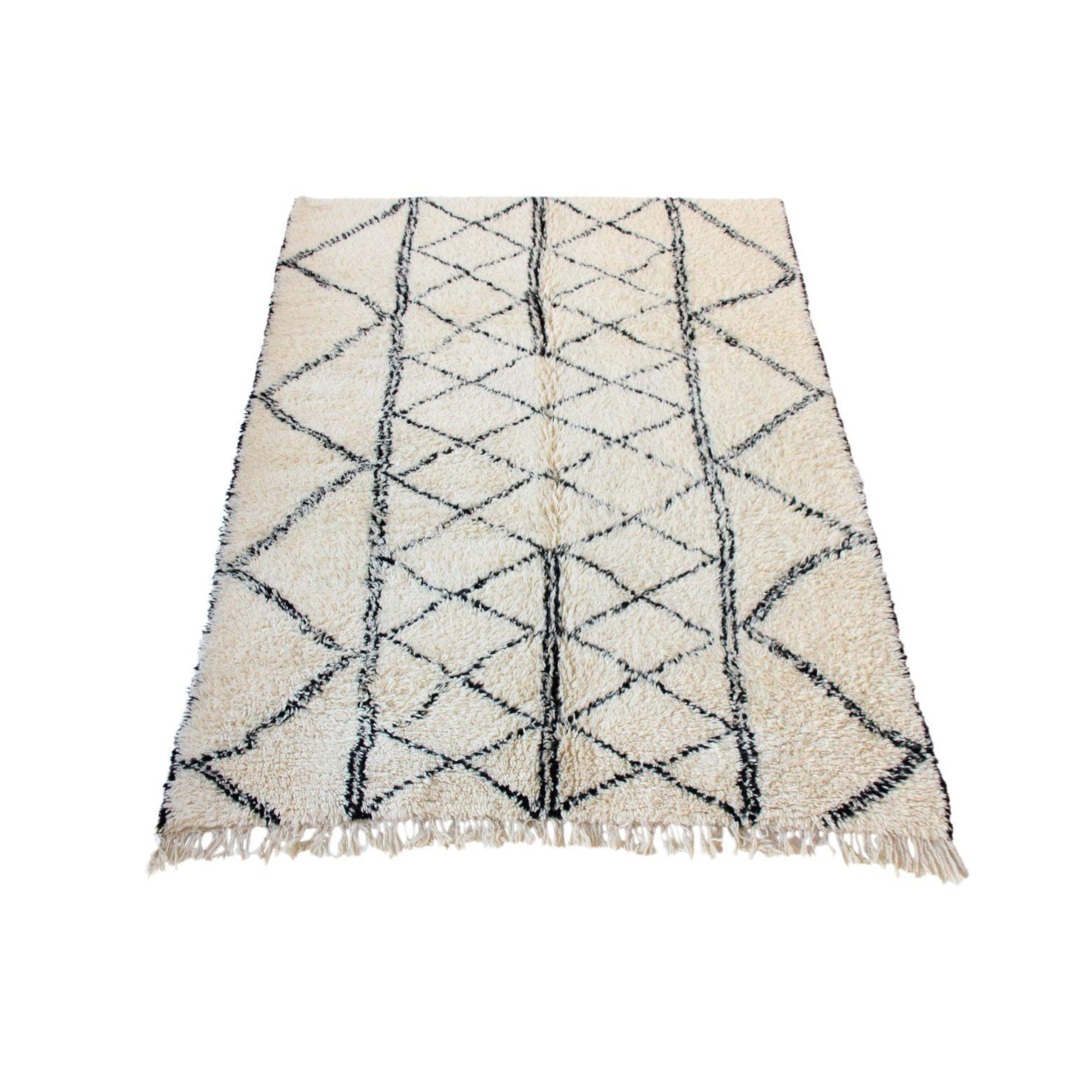 At 1st sight products large vintage moroccan beni ourain rug with black diamond and stripe design