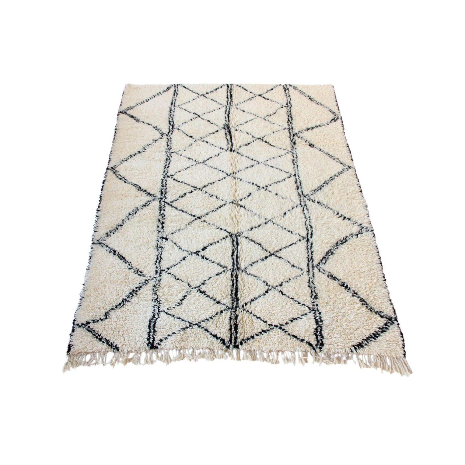 Black And White Tassel Rug: Large Vintage Moroccan Beni