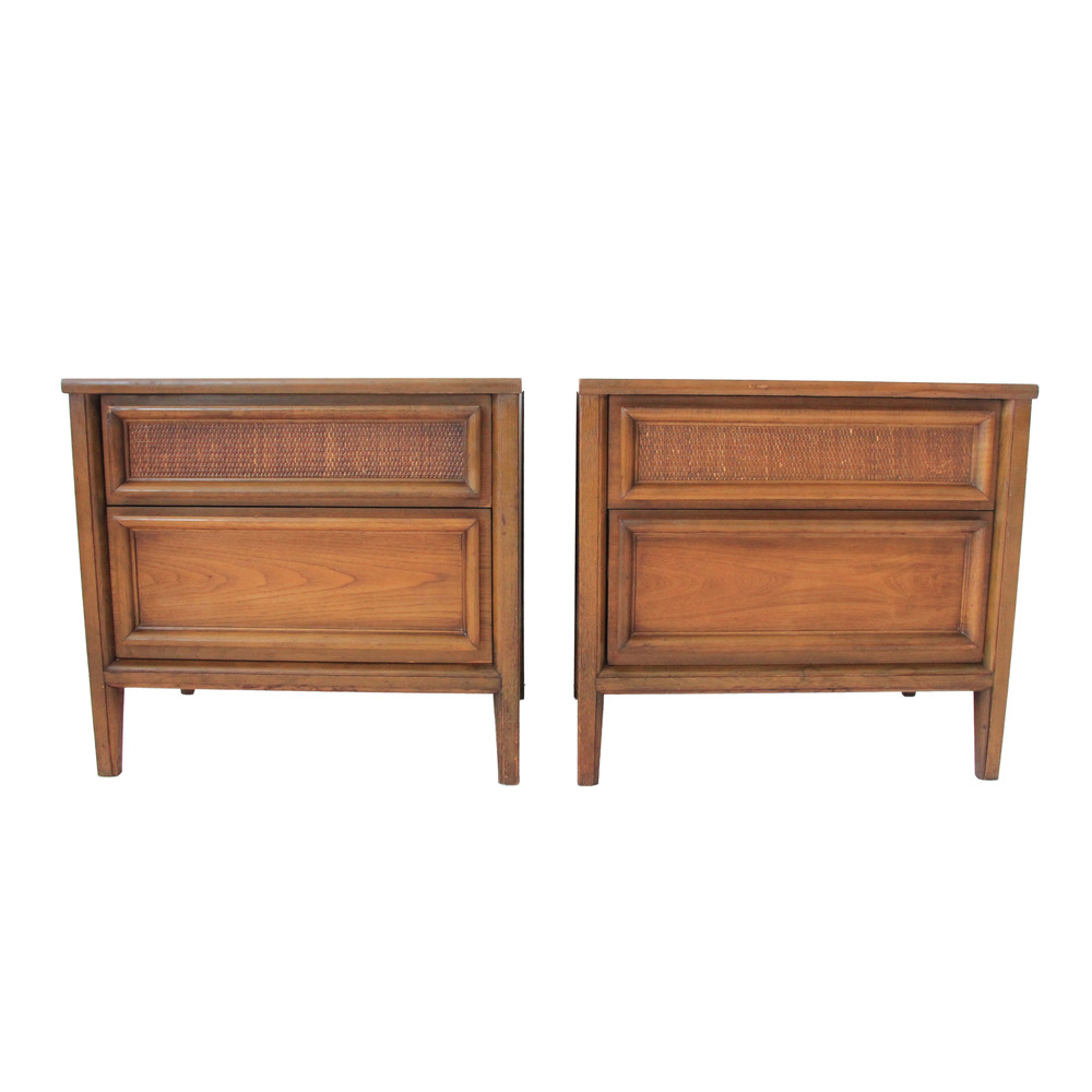 Vintage Thomasville rattan nightstands pair.jpg