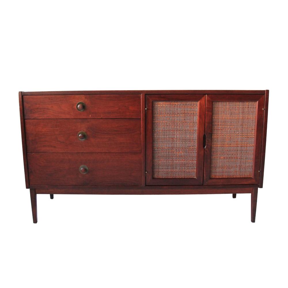 Vintage Mid Century Modern Rattan Sideboard