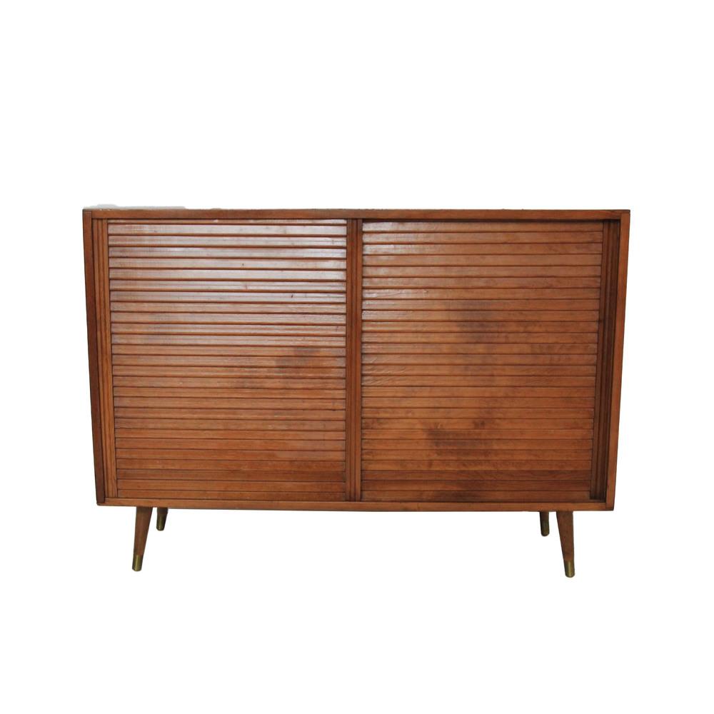 Vintage Mid Century Modern Sliding Door Cabinet