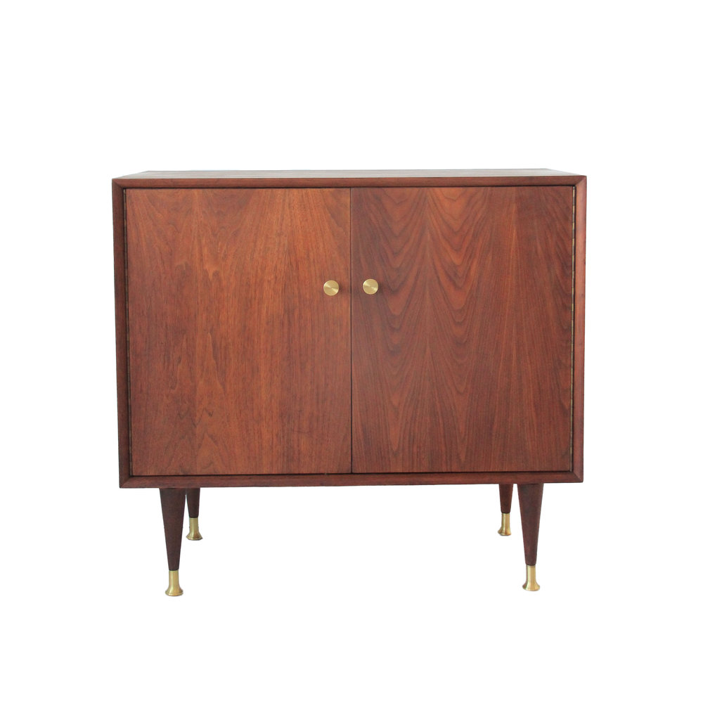 Vintage Mid Century Modern Walnut Cabinet with Brass Hardware