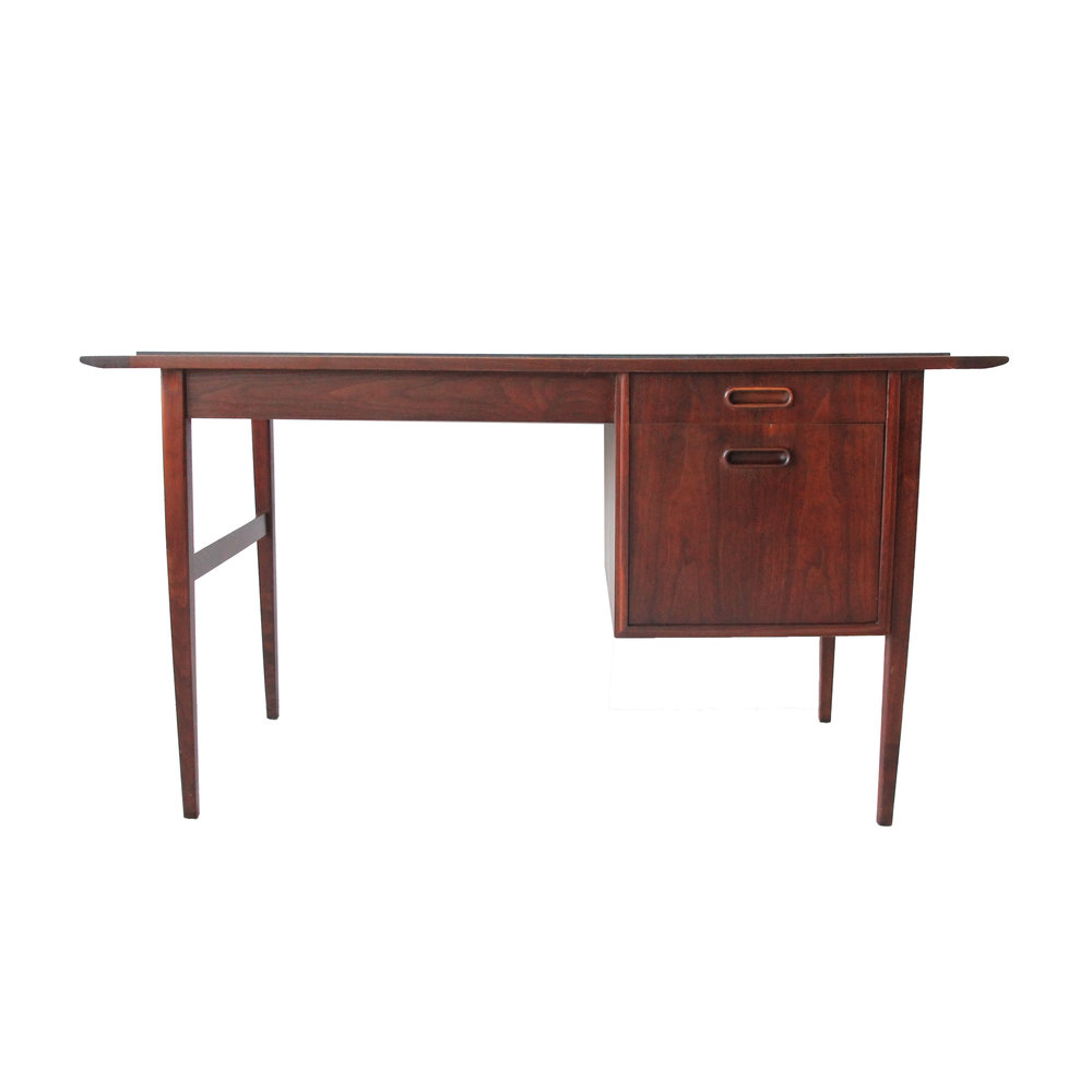 Vintage Mid Century Modern Teak Desk with Slate Top
