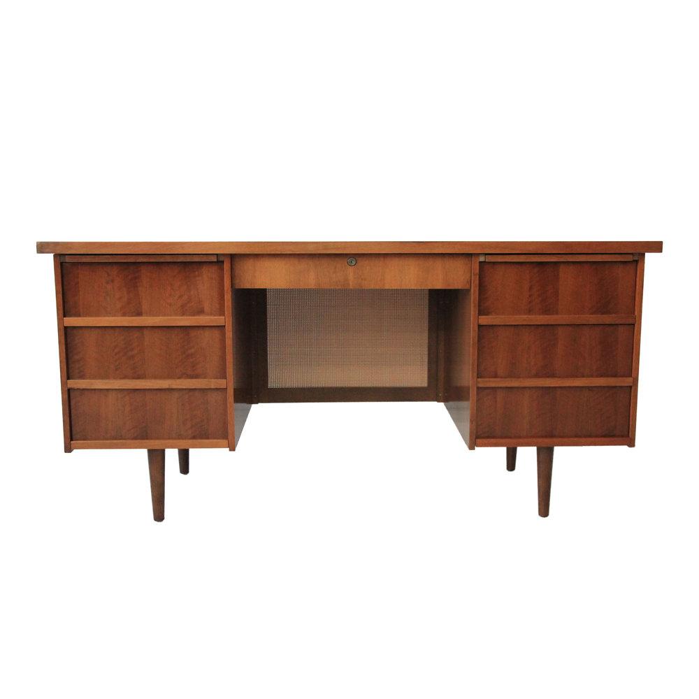 Vintage Mid Century Modern Desk with Rattan