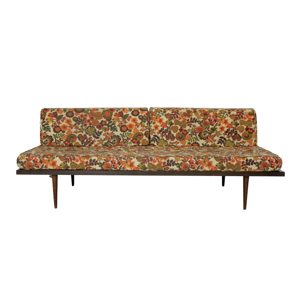 Vintage Mid Century Modern Floral Daybed