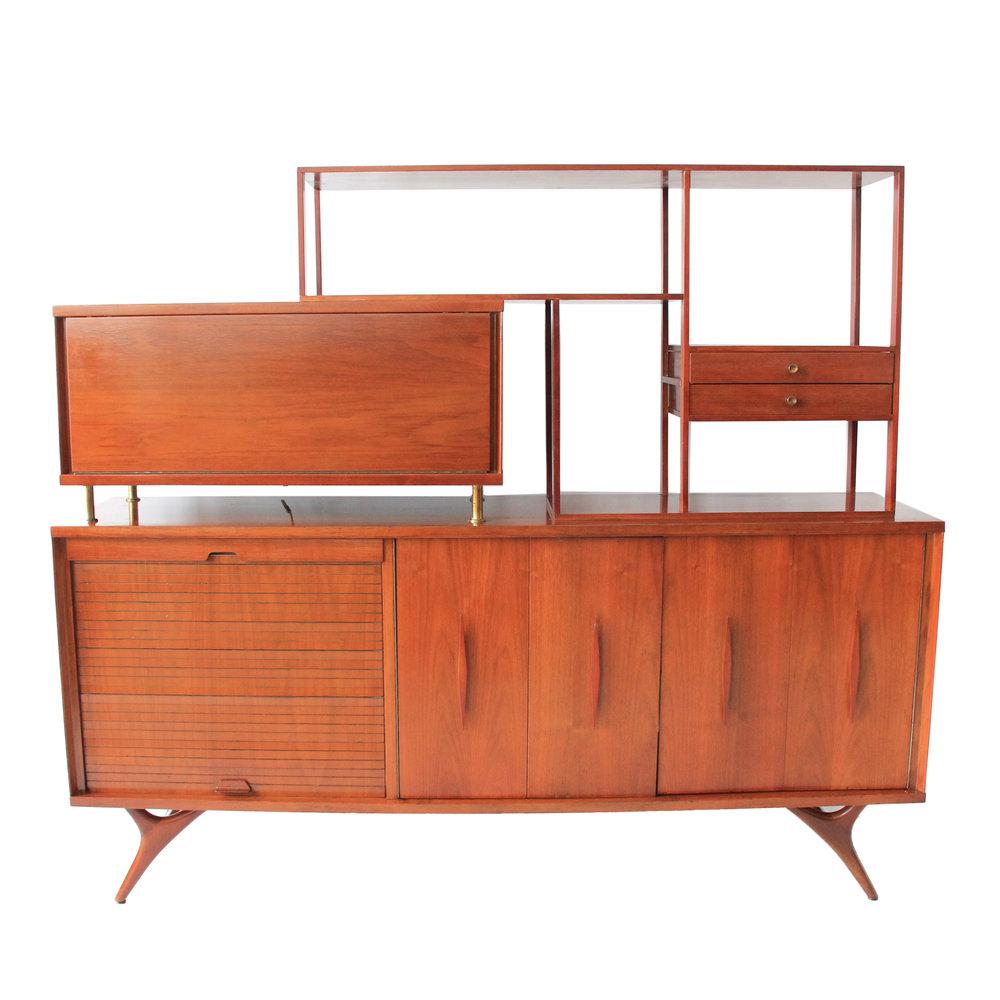 Vintage Mid Century Modern Room Divider Bookcase Hutch