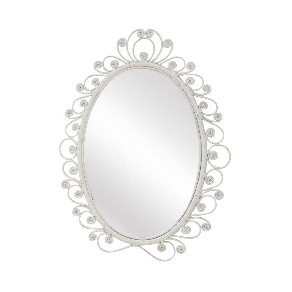 Vintage White Bohemian Swirl Mirror
