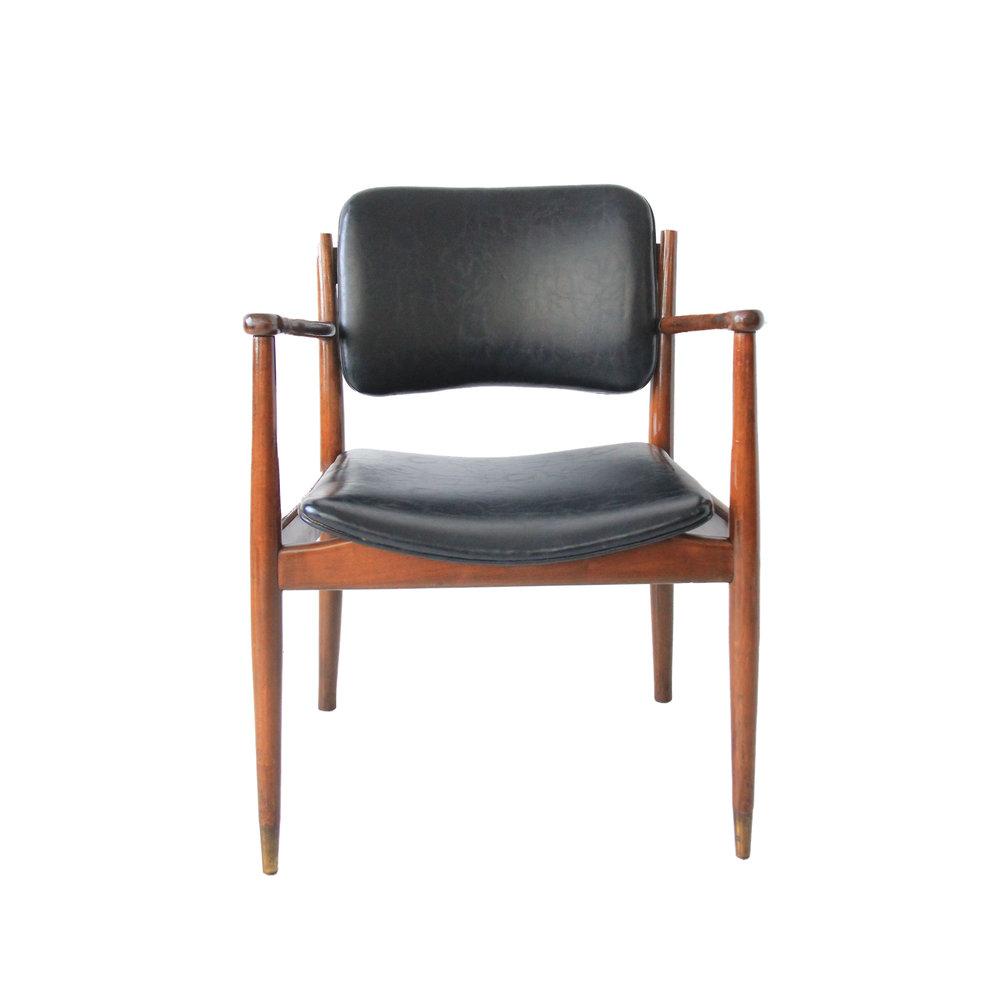 Vintage Mid Century Modern Black Leather Chair