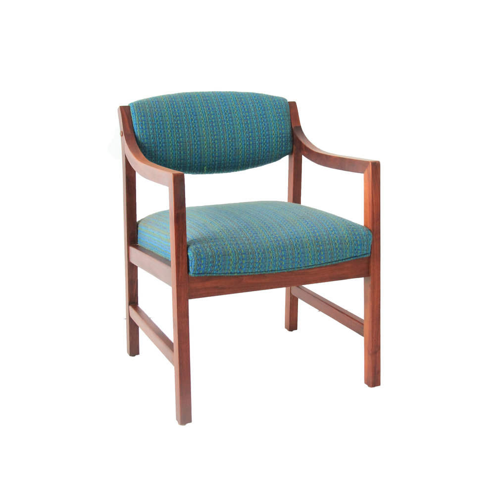 Gentil Vintage Mid Century Modern Turquoise Upholstered Chair