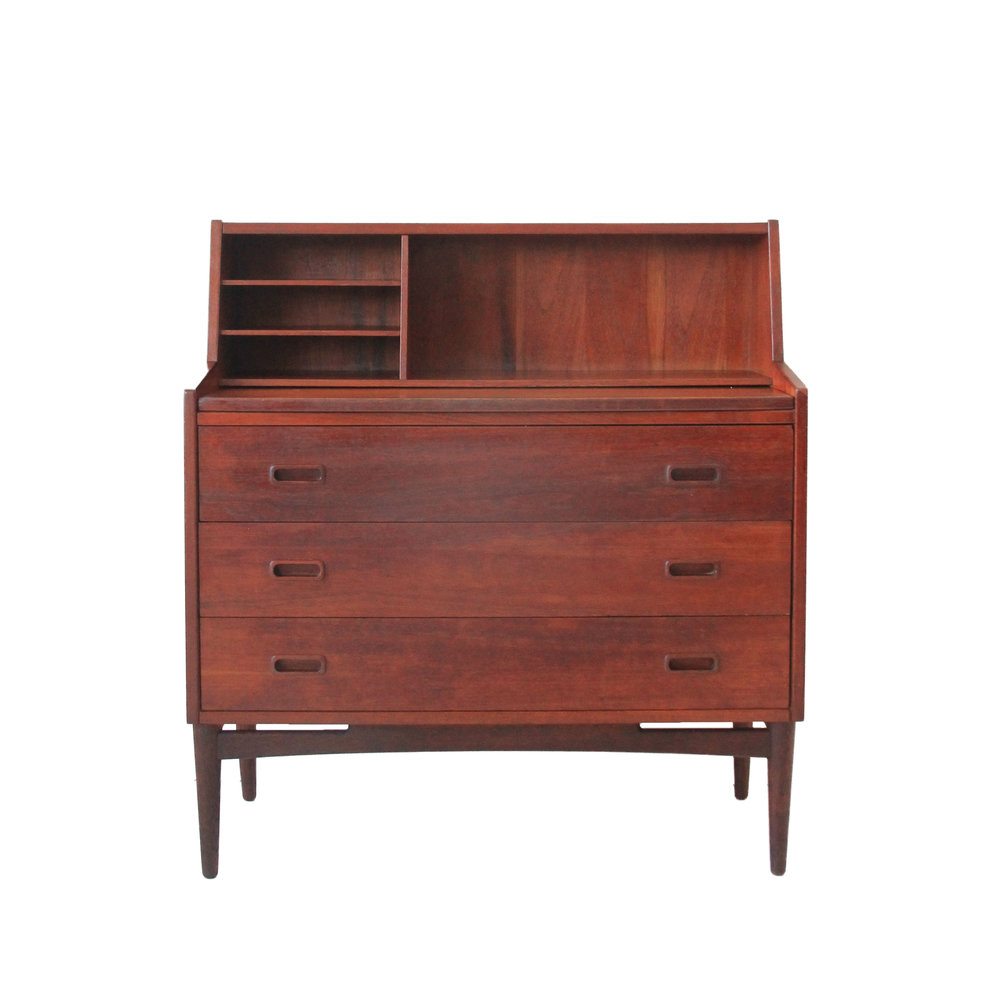 Vintage Mid Century Modern Teak Secretary Desk
