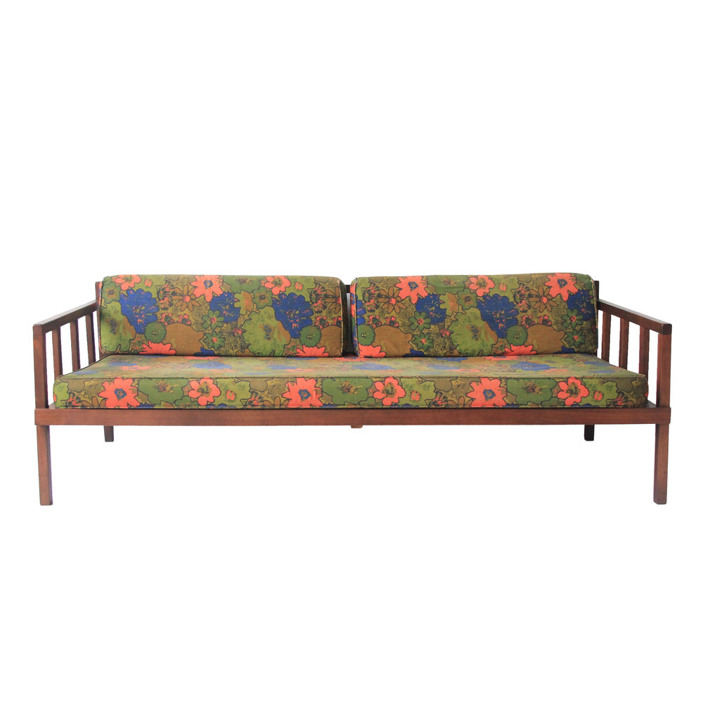 Vintage Mid Century Modern Floral Rosewood Daybed Sofa