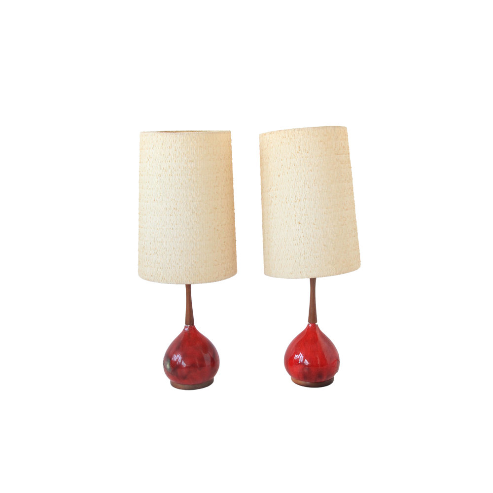 Vintage Mid Century Modern Orange Glazed Lamps