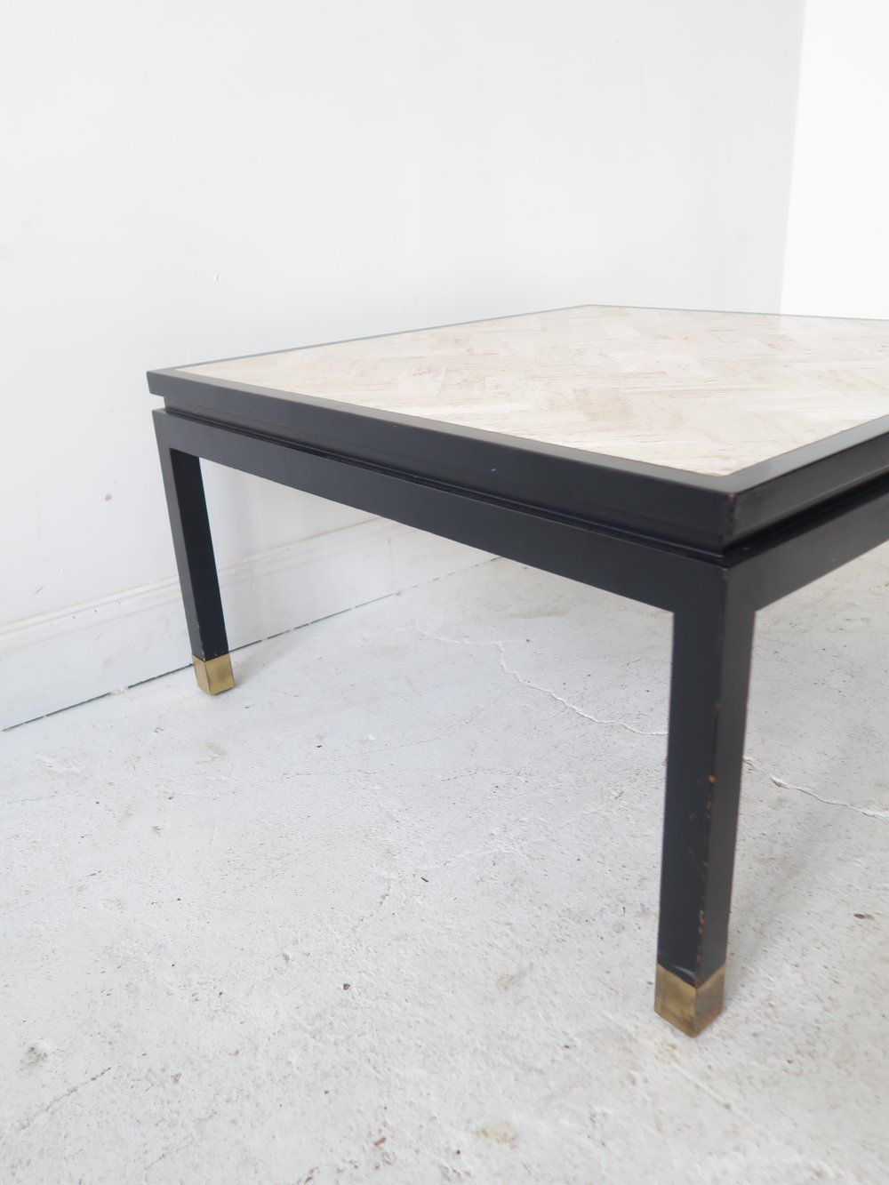 At 1st Sight Products Square White Travertine Coffee Table