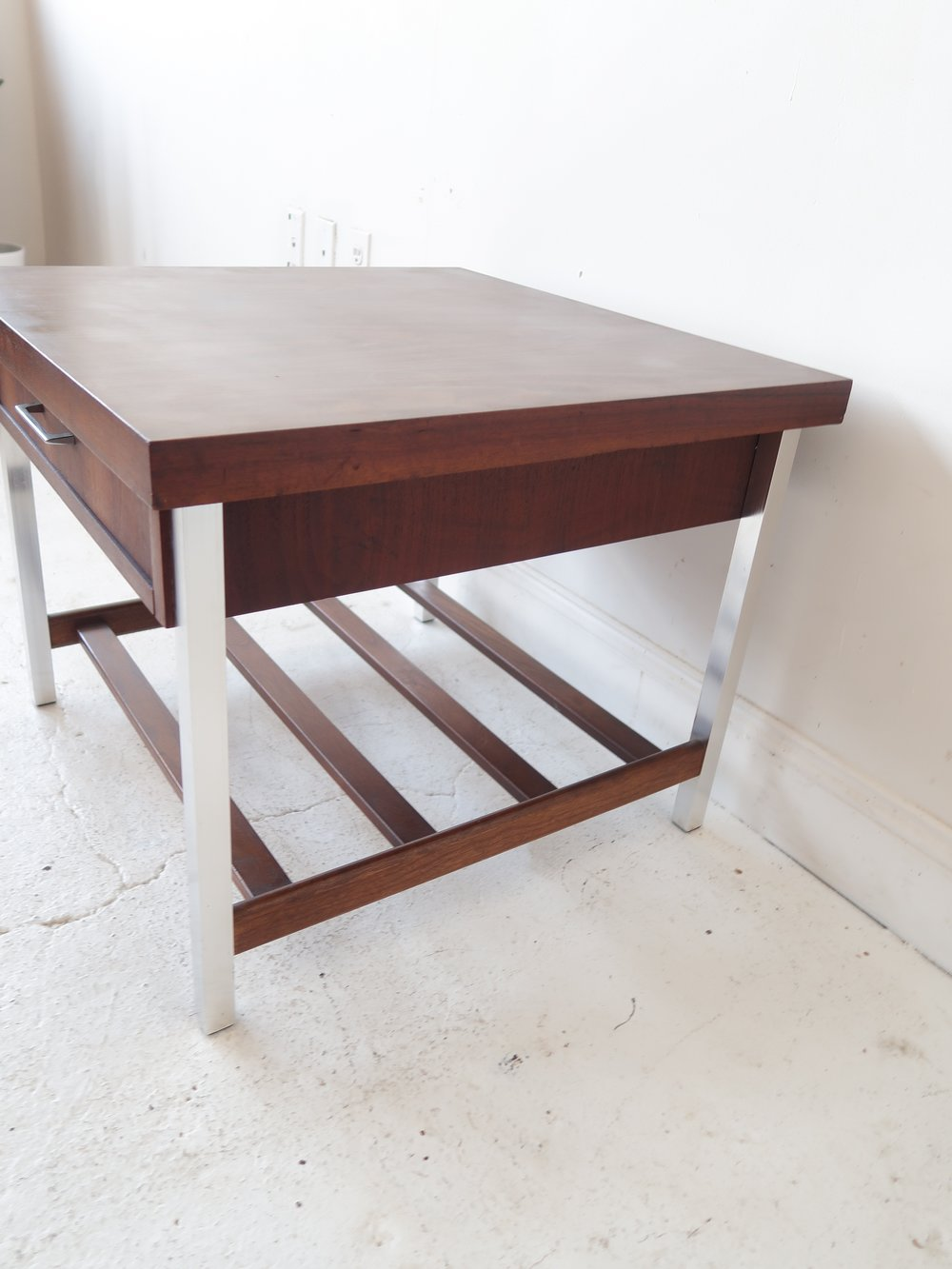 Vintage Mid Century Modern End Table With Chrome Legs