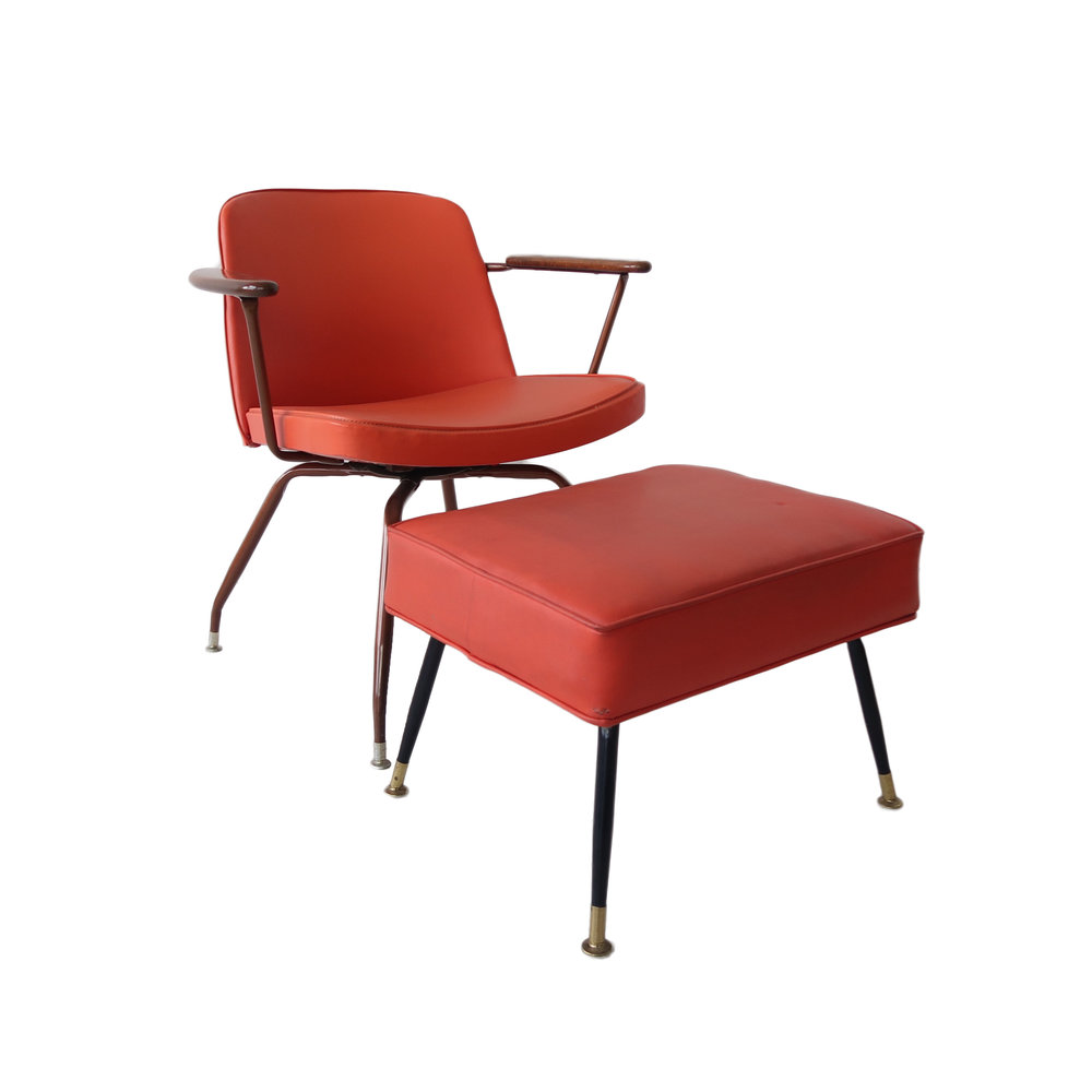 Vintage Mid Century Modern Chair And Ottoman