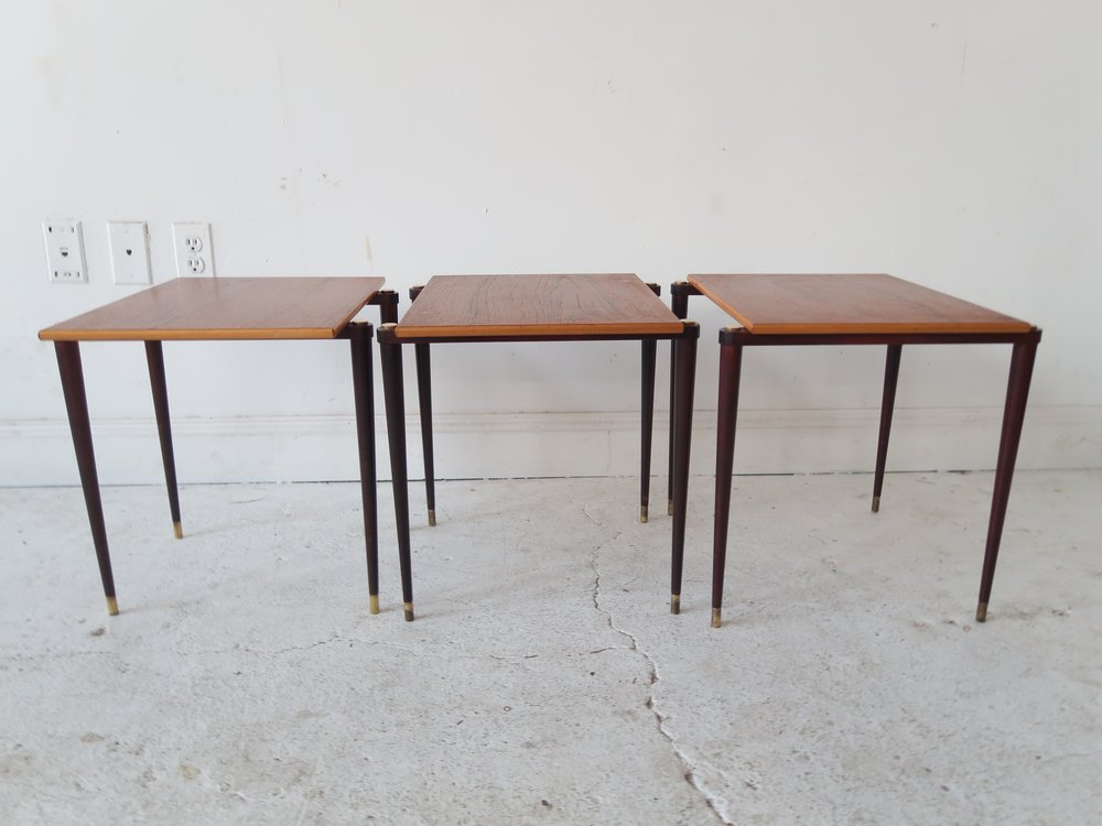 Vintage Mid Century Moder Teak Stacking Tables. IMG_3903