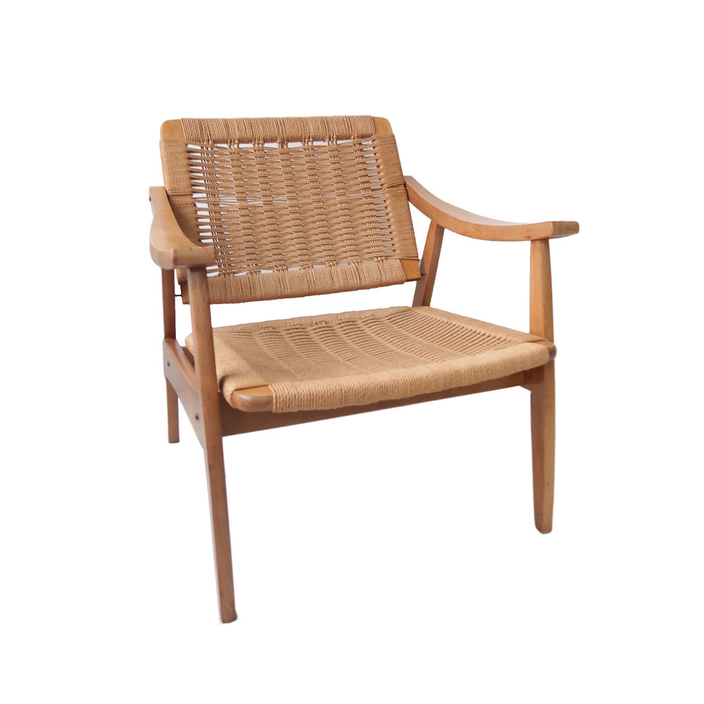 Genial Vintage Mid Century Modern Woven Lounge Chair