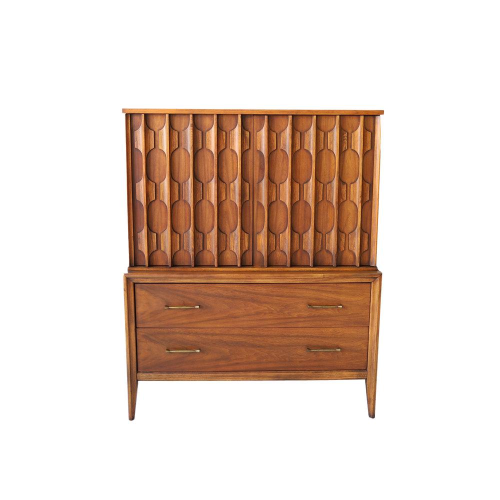 Exceptional Vintage Mid Century Modern Armoire Highboy Dresser