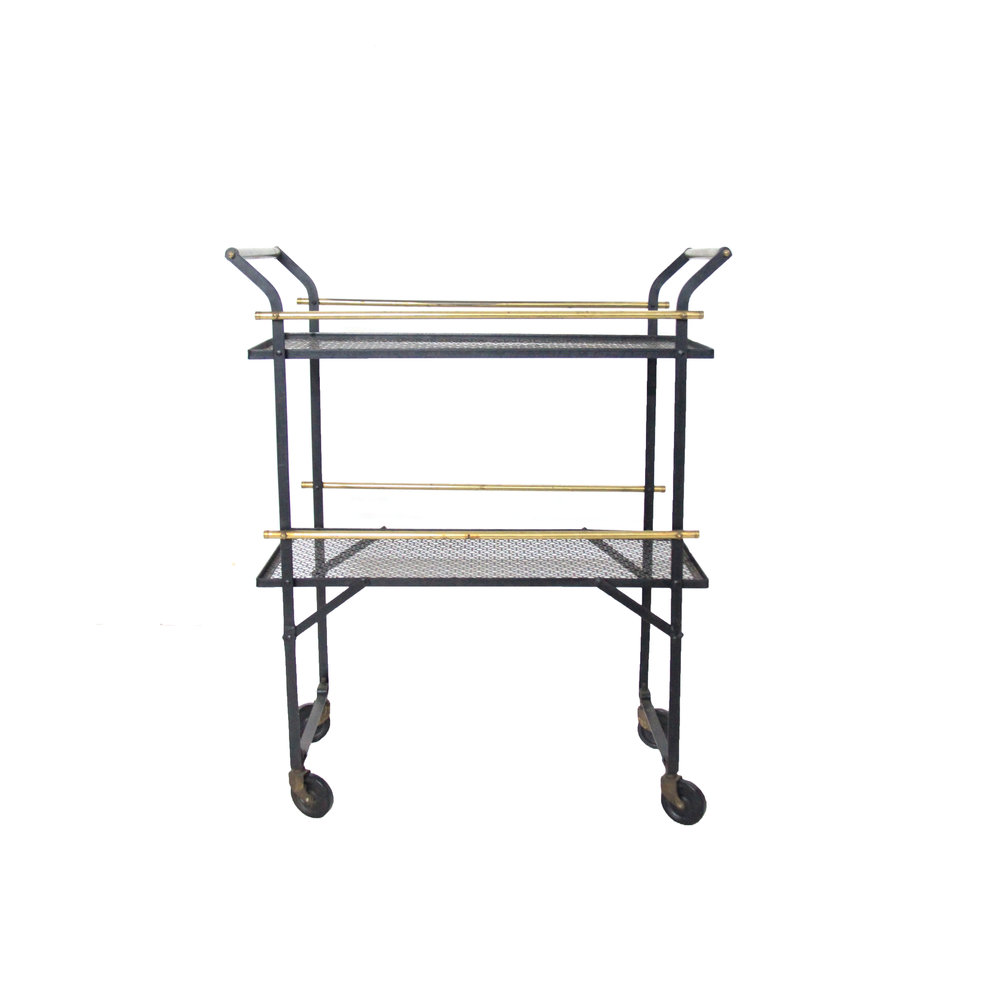 Vintage black mesh bar cart.jpg