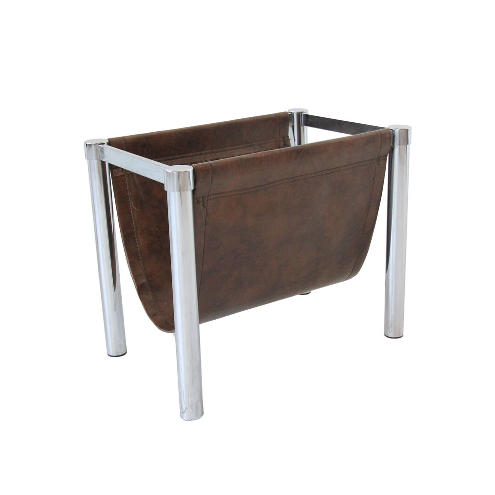 vintage leather and chrome magazine rack.jpg