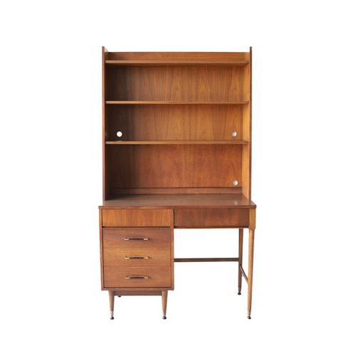 Vintage Mid Century Modern Desk With Bookshelf Hutch