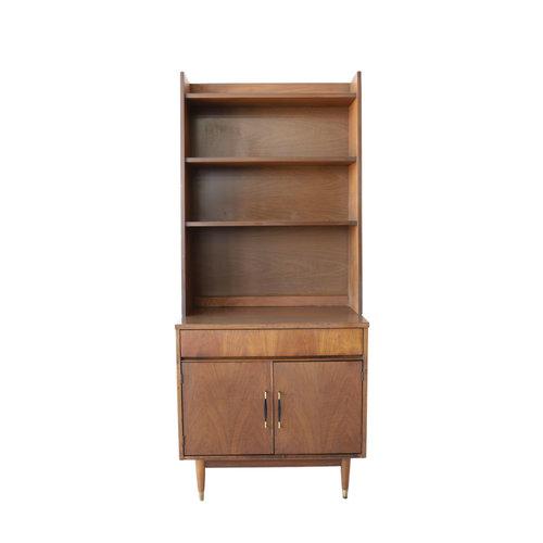 Vintage Mid Century Modern Cabinet With Bookshelf