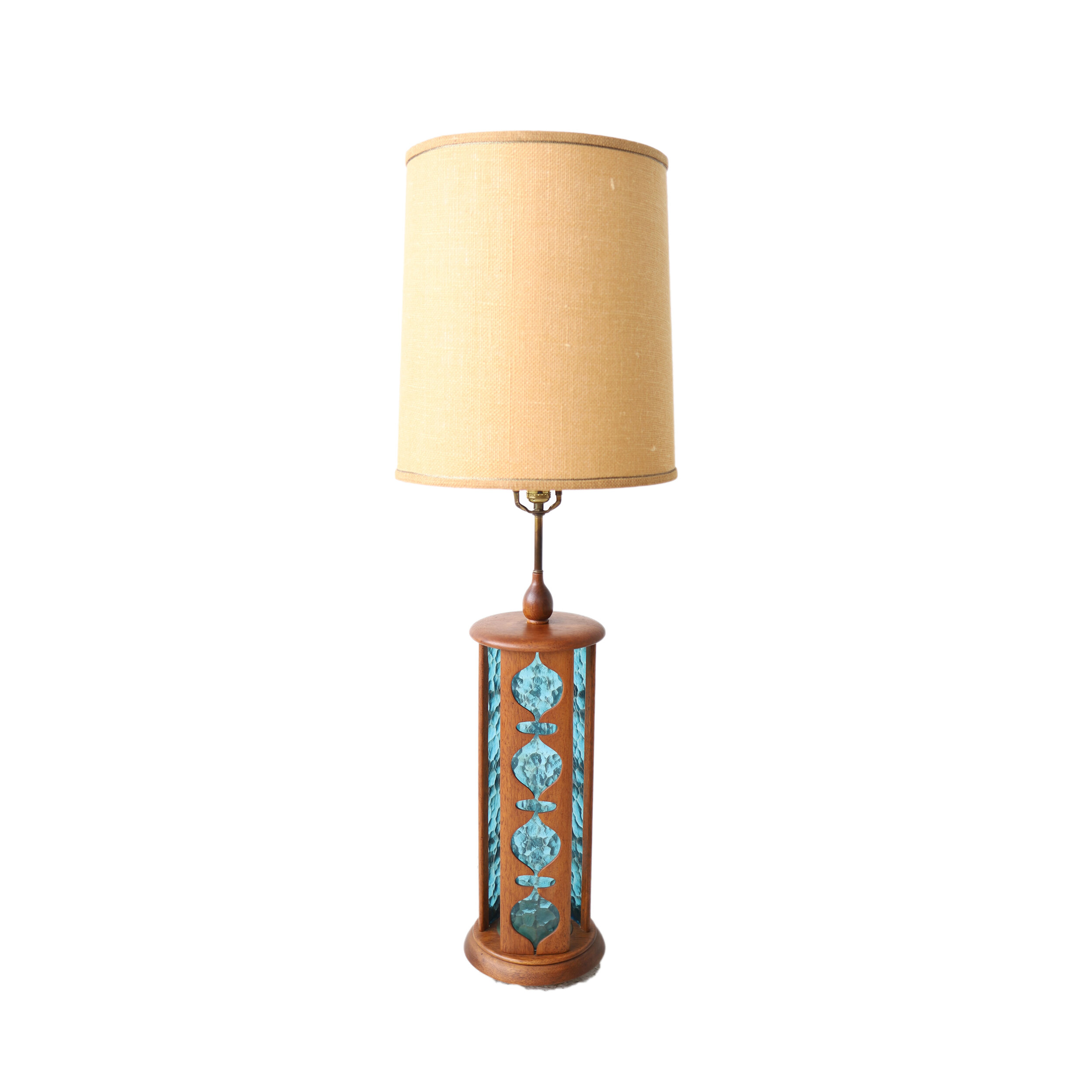 New Products Vintage Mid Century Modern Turquoise And Walnut Table Lamp At 1st Sight