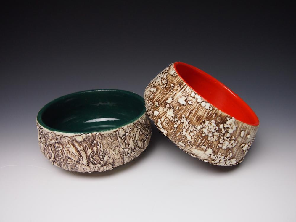Hunter Bark Bowl and Orange Lichen Bowl