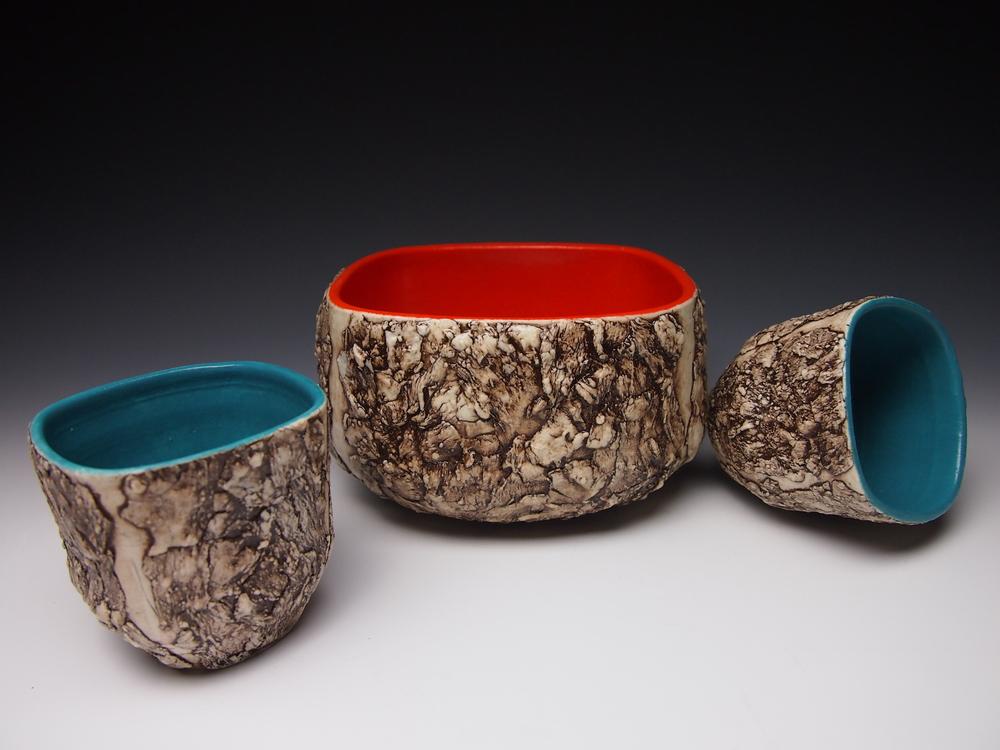 Orange Bark Bowl and Turquoise bark cups