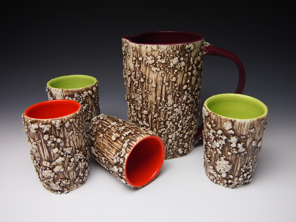 lichen pitcher and cups - maroon, chartreuse, flame orange.jpg