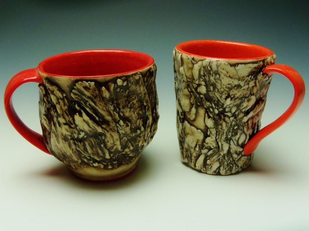 Red and Orange Bark Mugs