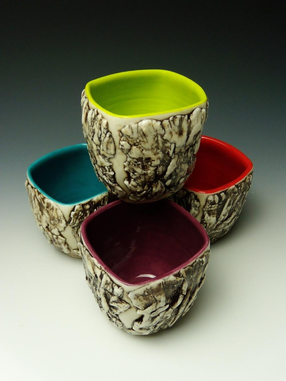 Square, Multi-color Bark Tea Cups