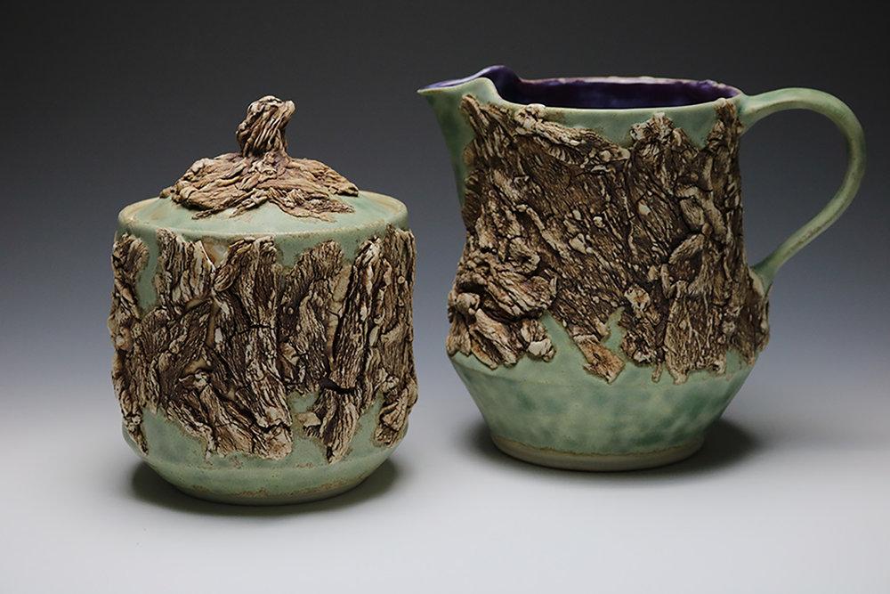 Sea Foam Bark Lidded Jar and Pitcher
