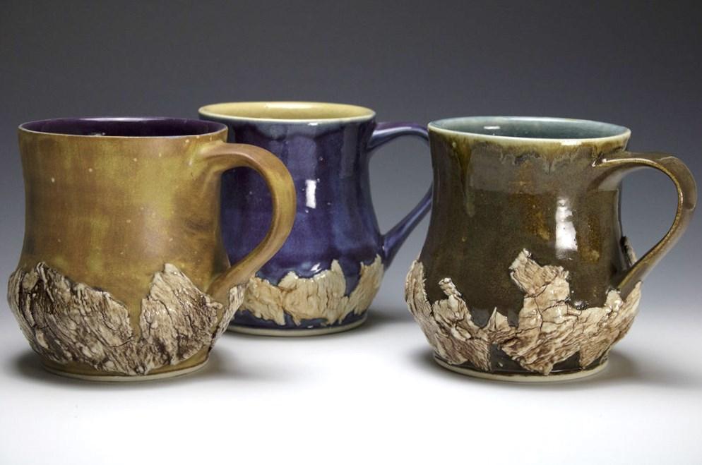 Assorted Dual-tone, Partial Bark Mugs