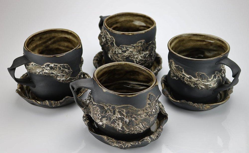Undulating Partial Bark Mugs