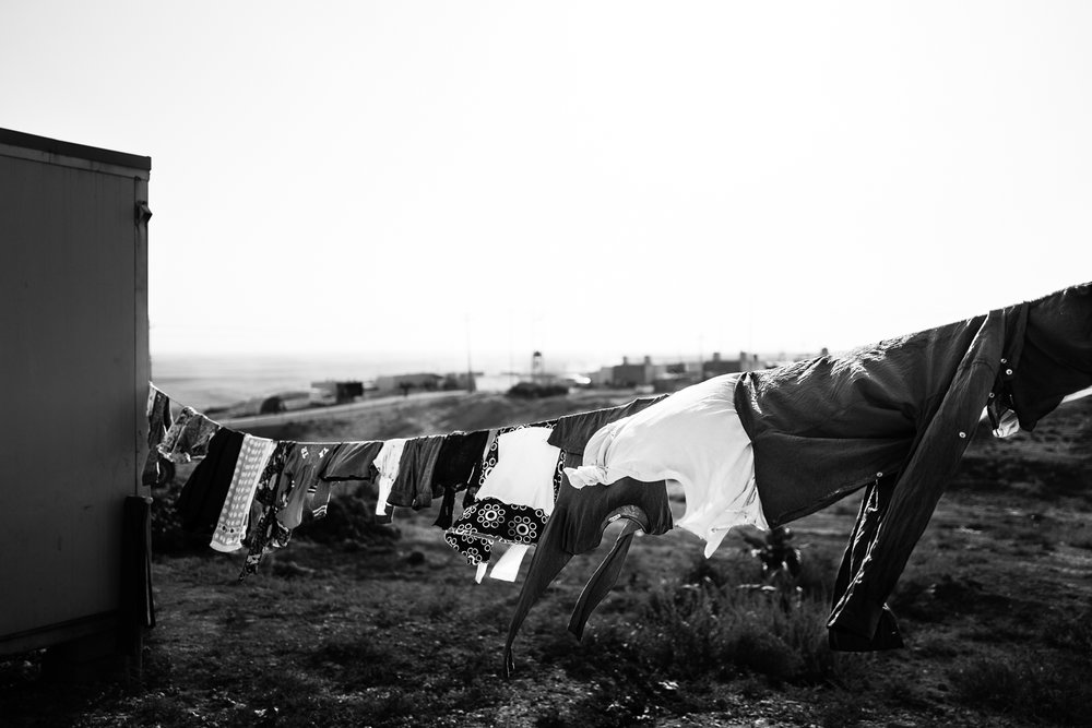 Clothes drying under the wind in  Essian refugees camp, one of the biggest refugees camp in Iraq